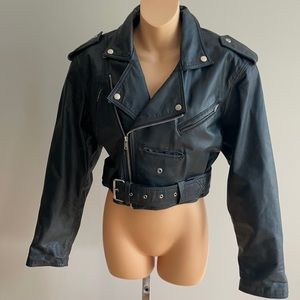 Vintage 90's leather motto jacket size small